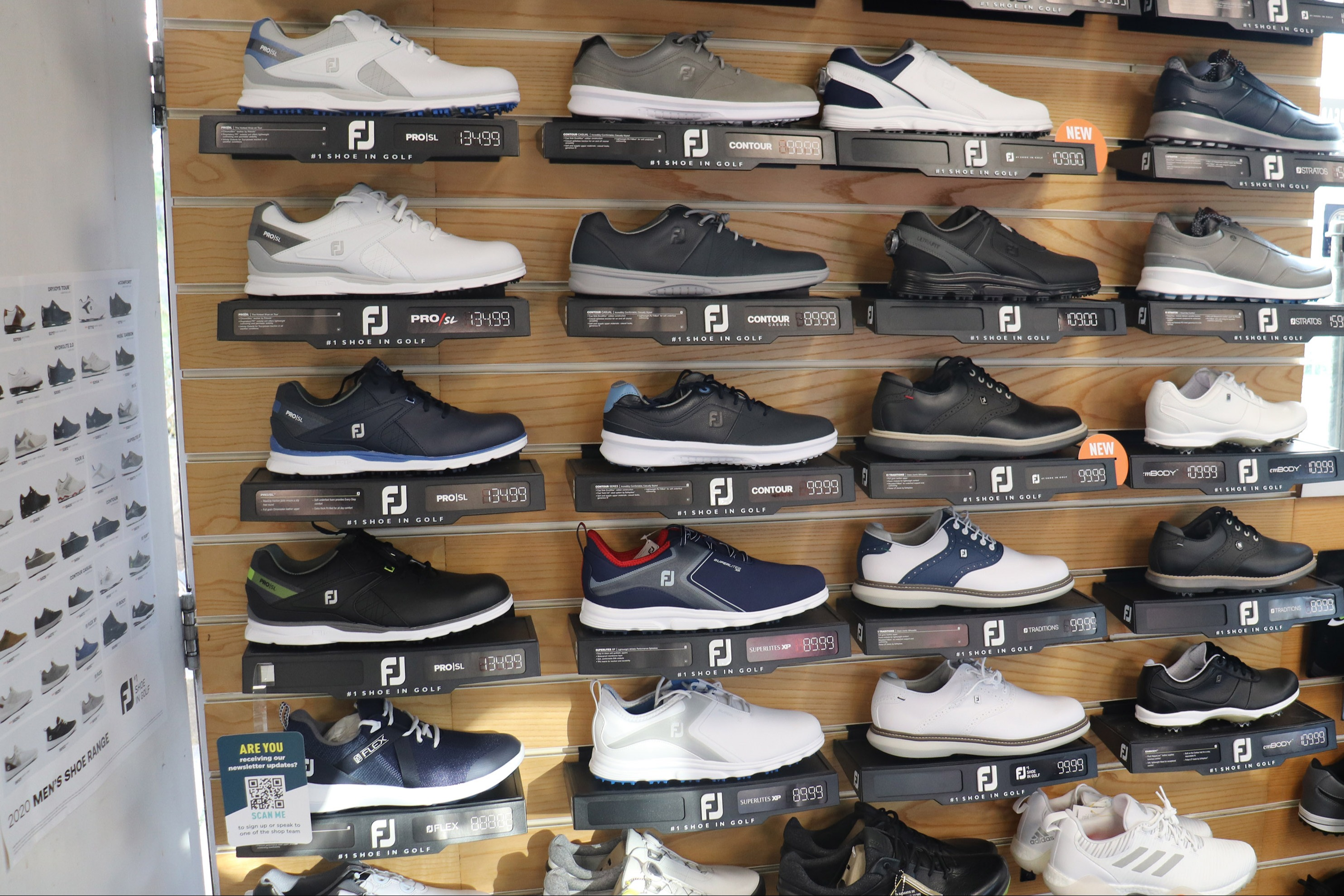 Golf shoes from Footjoy, Ecco, Adidas and Stuburt