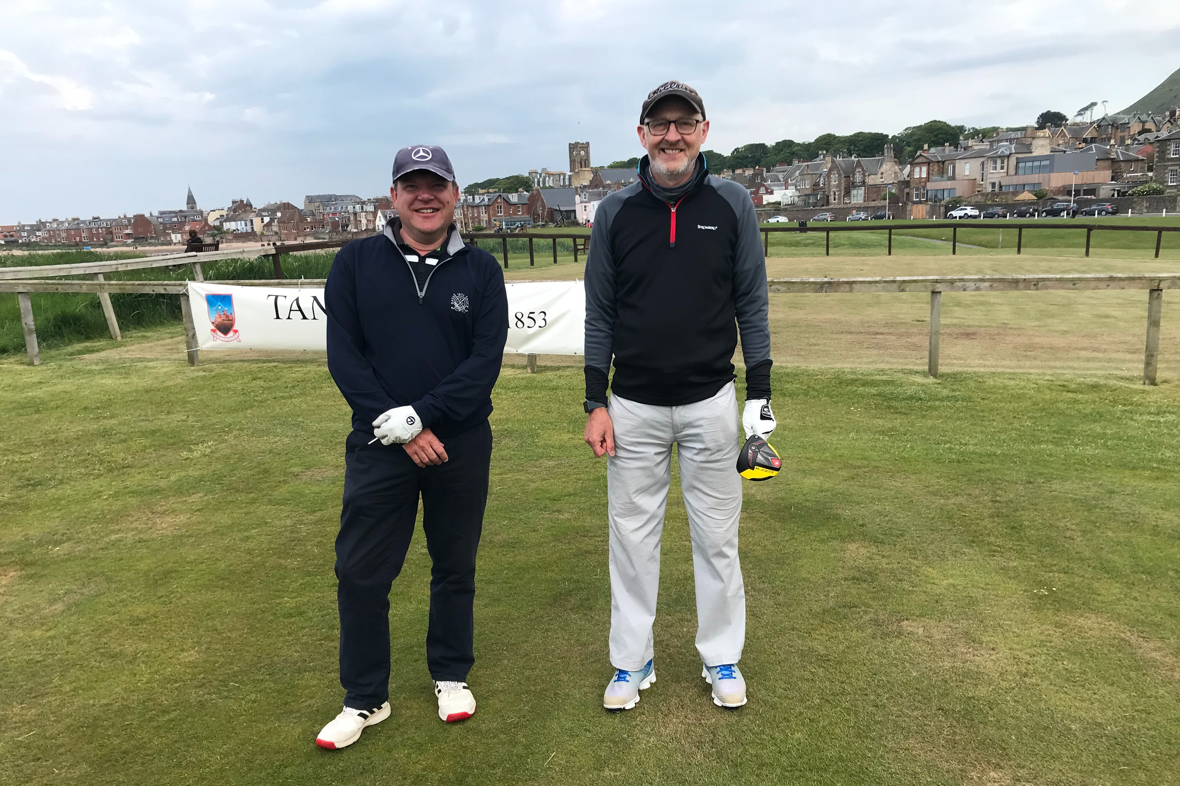 Colin Adamson (right) had a great battle with the 'Bomber' and came through 3 & 2