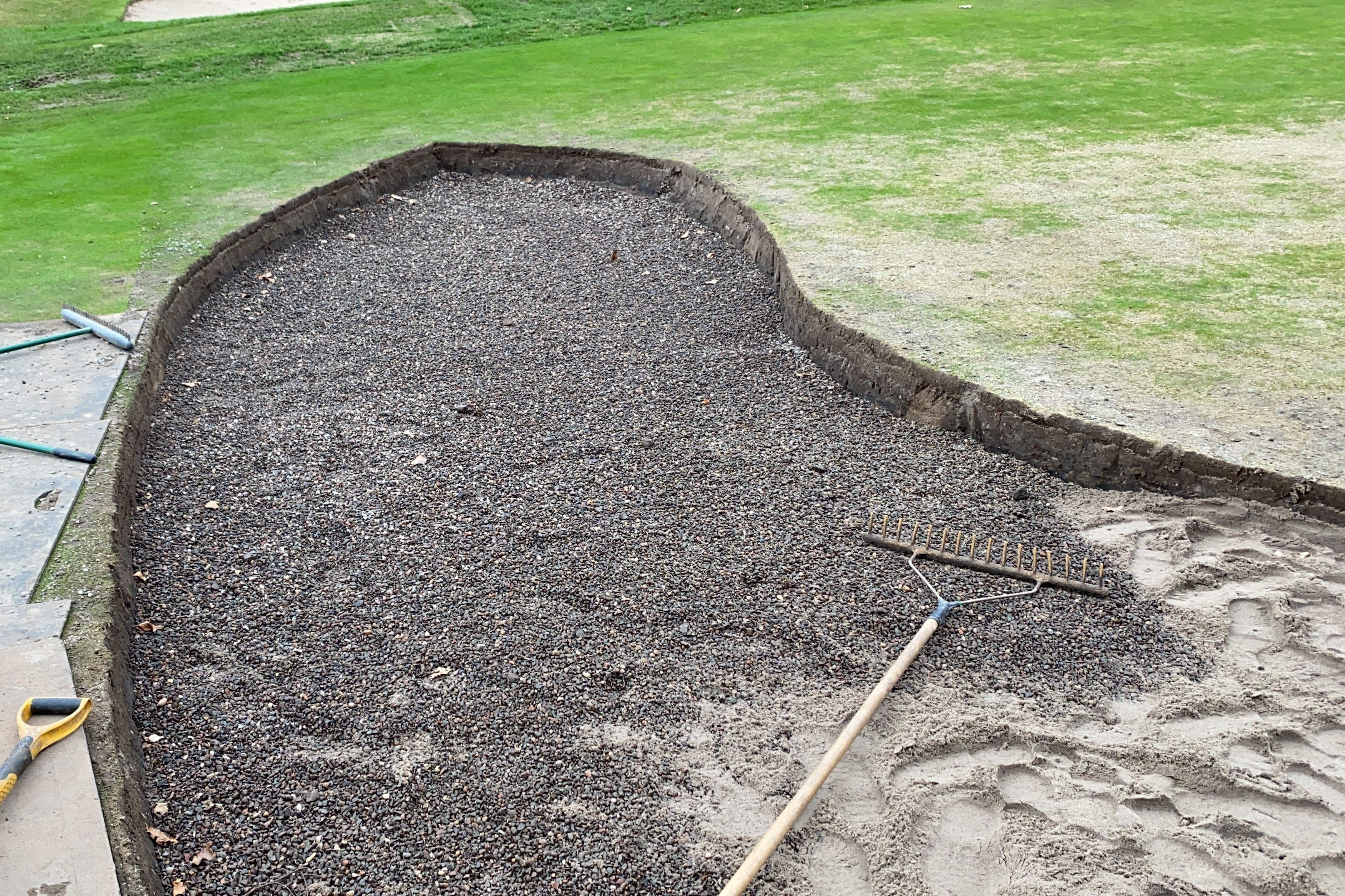 bedding in the french drain