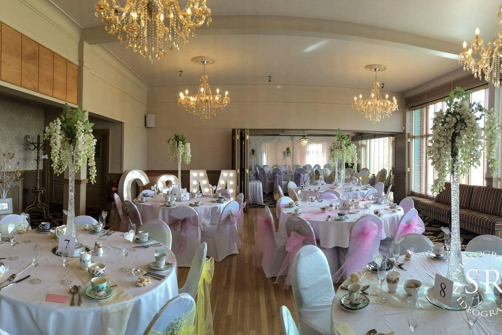 The lounge dressed for a wedding