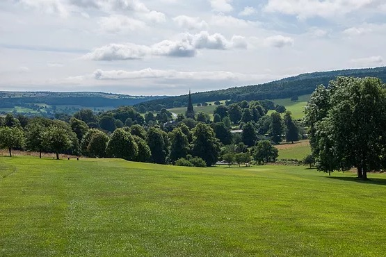 View over Edensor Village and Church
