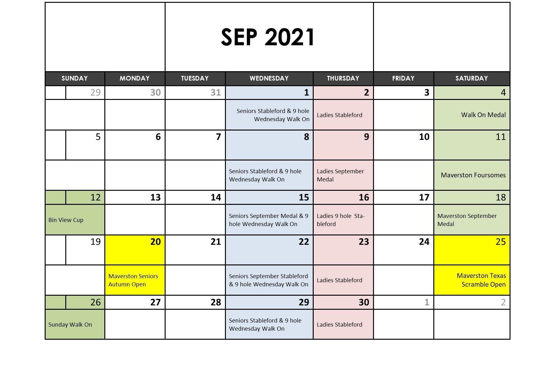 September 2021 Fixtures