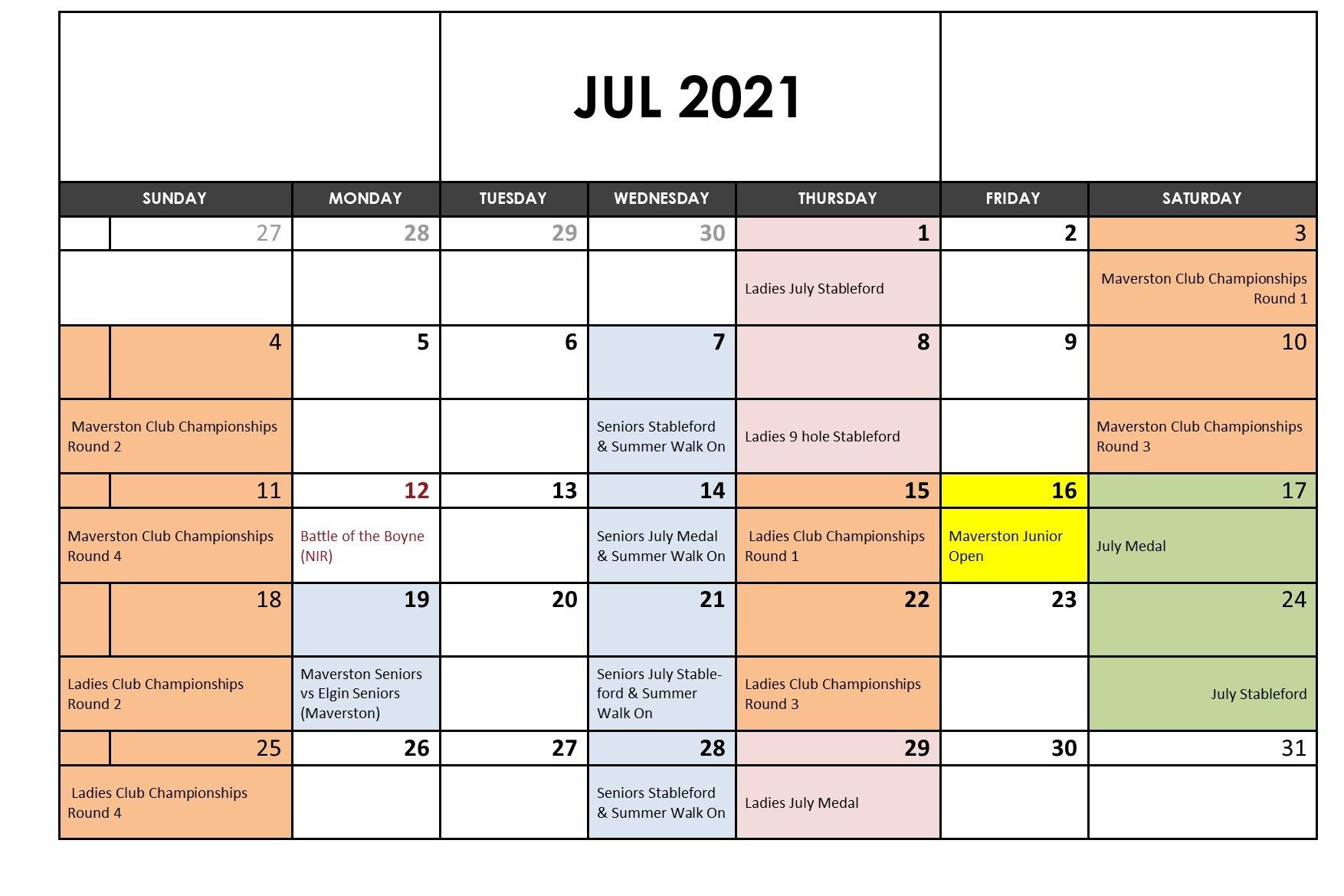 July 2021 Fixtures