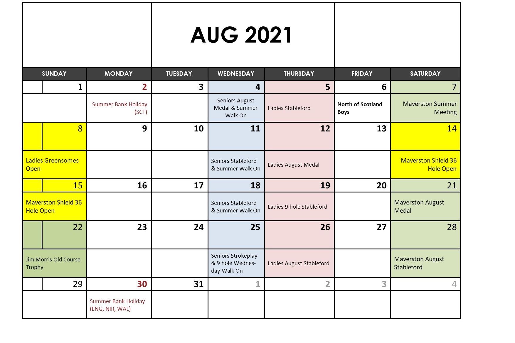 August 2021 Fixtures