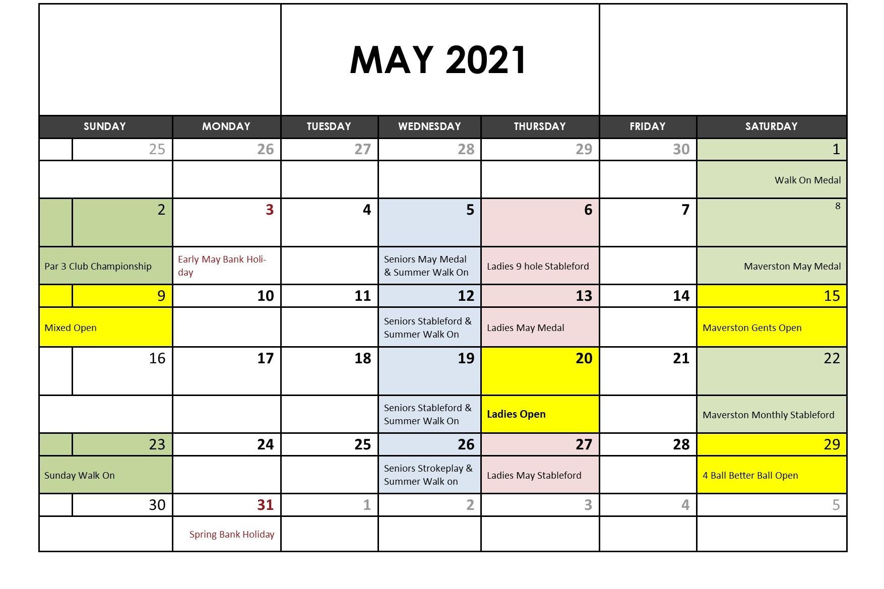 May 2021 Fixtures