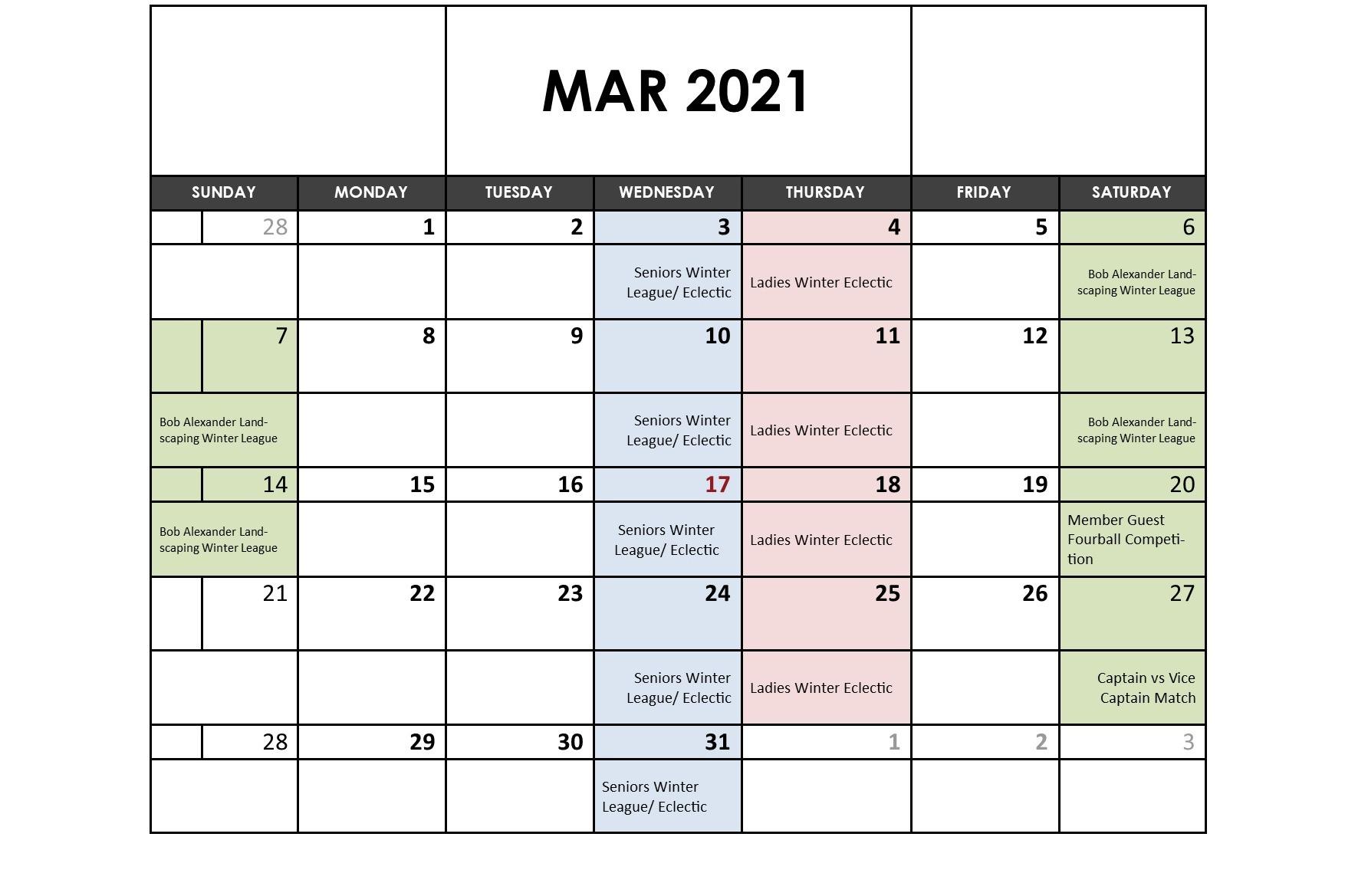 March 2021 Fixtures