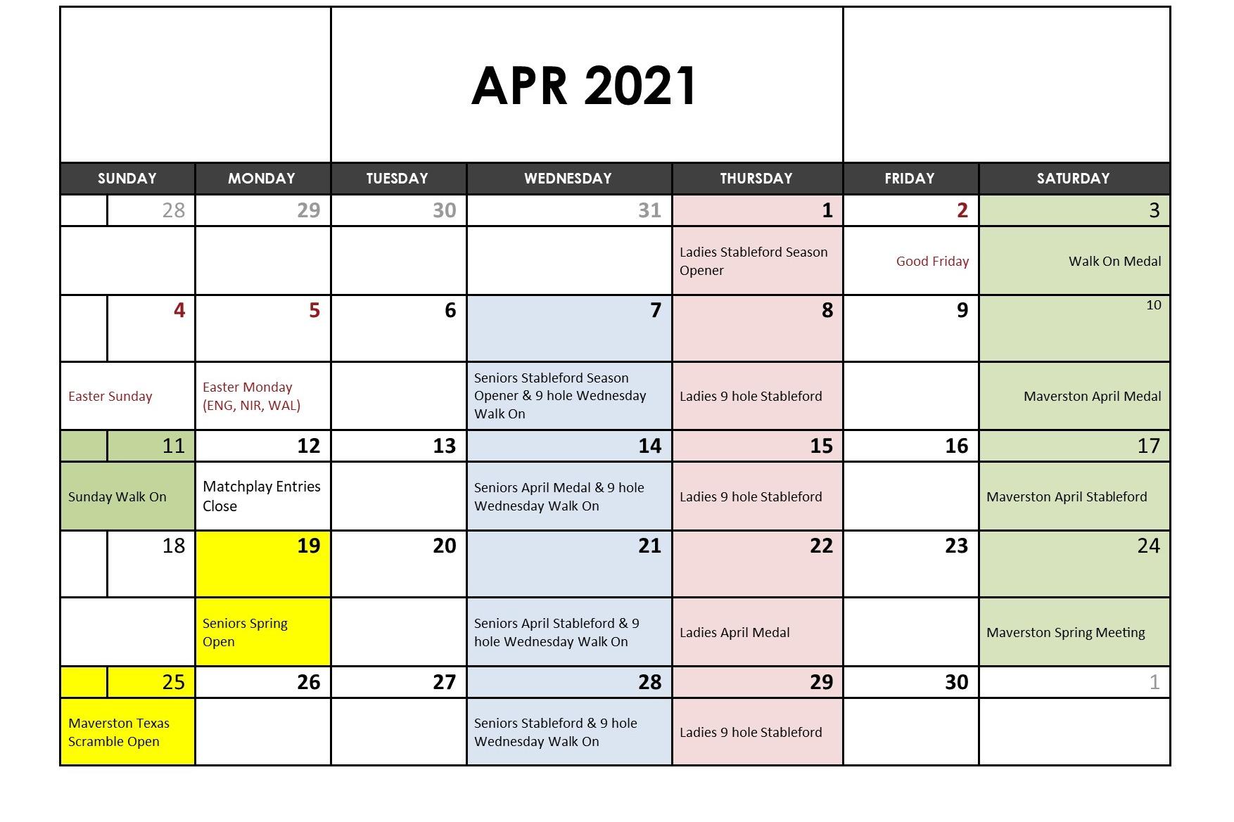 April 2021 Fixtures