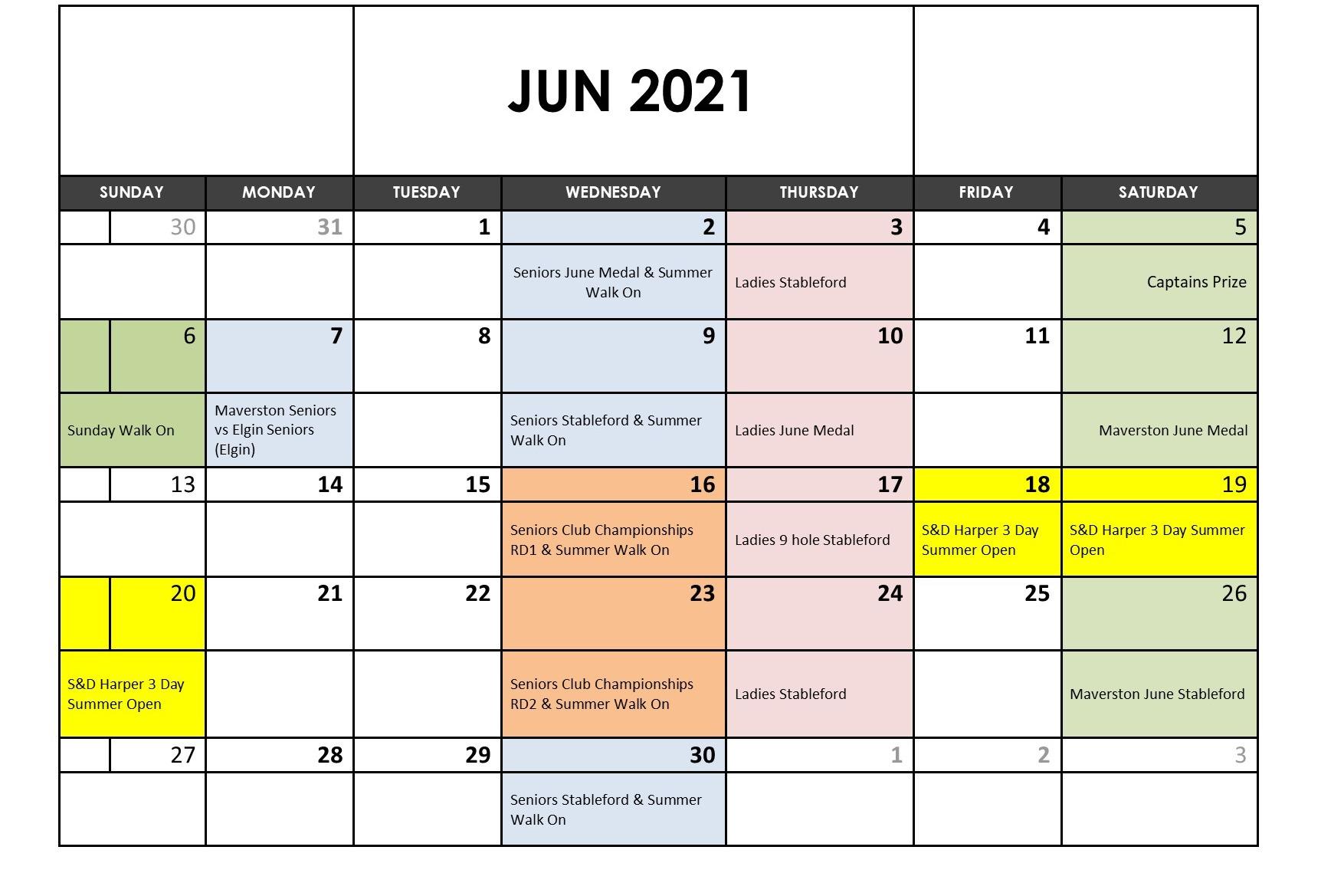 June 2021 Fixtures