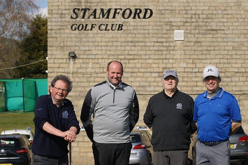 Andy Earlam - second from the left - with his team from Saddleworth GC