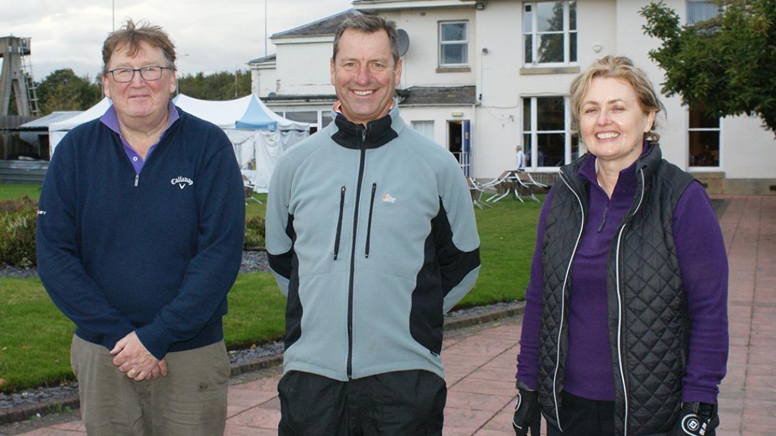 Frank McKenna (Ringway GC), Ian Hales (MDGA Secretary), Kate McKenna (Ringway GC)