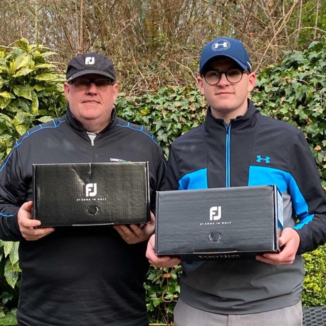 Am AM winners Darron & Elliot Tickle (Blackley GC) with their prizes