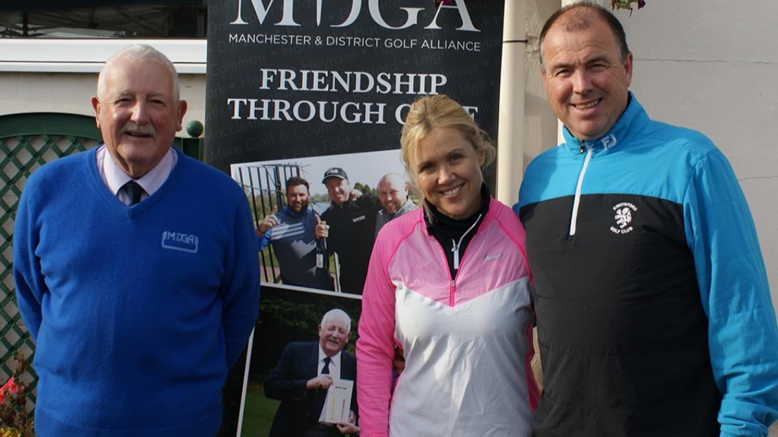 MDGA President Ian Brooks, Suzy and Tim Maxwell (Knutsford GC)