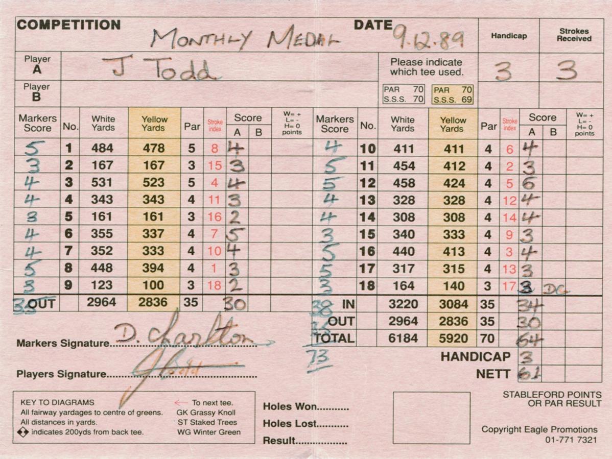 John Todd - 64 - Nov 1989 - Amateur