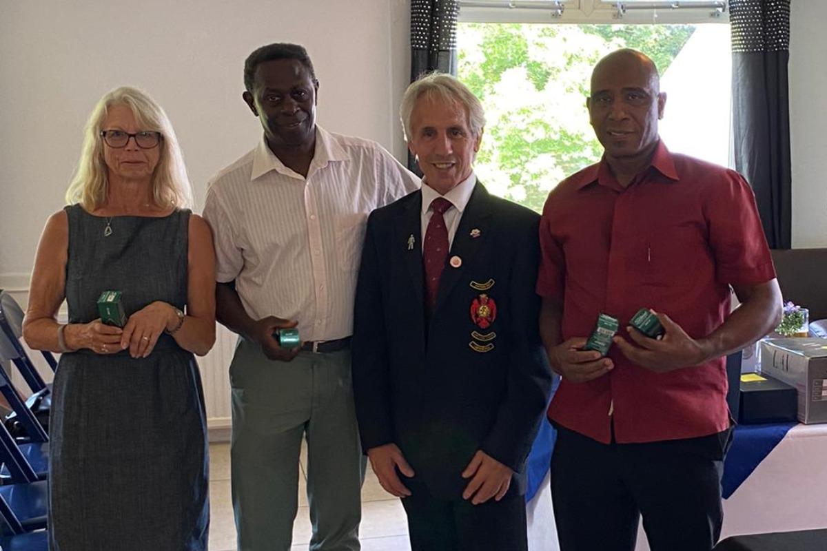 PM scramble runners-up - Sandra Hulett, Randolph Charles, Nalbert Sinclair & (Doug Staddon)