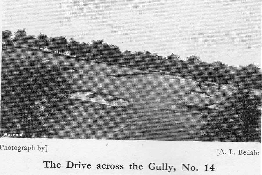 The drive across the gully on the 14th