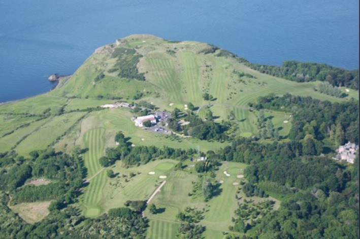 View from above, with the 18th, 11th and 10th in the foreground