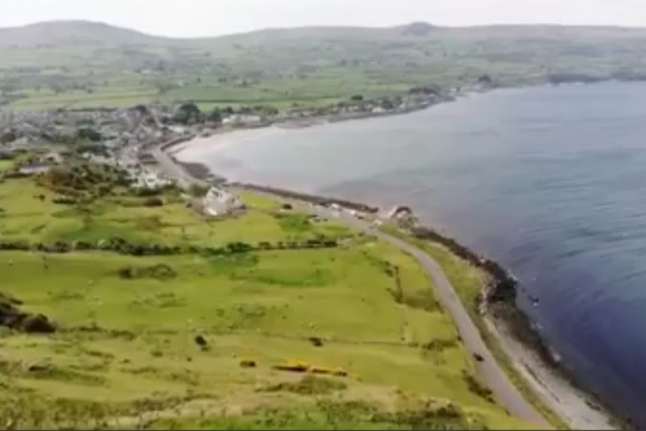 Drone view of Ballygally Bay from the 3rd tee